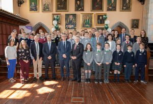 FREE IMAGE- NO REPRO FEE. University College Cork on Friday the 18th of May 2018 in the Aula Max hosted an event to celebrate the Gaelscoileanna in Cork. Pupils and teachers from a number of school were guests of UCC President, Professor Patrick O Shea. Photo By Tomas Tyner, UCC.